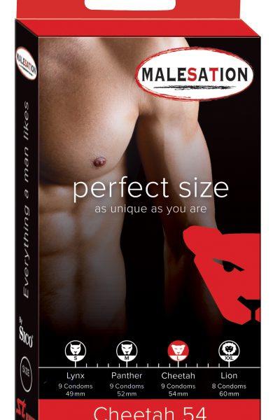 Gładkie prezerwatywy Malesation Cheetah 54, 9 szt.