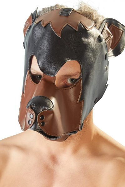 Maska psa czarno-brązowa