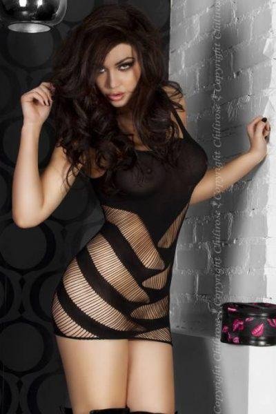 Ażurowa mini sukienka CR 3424 S / M Czarny