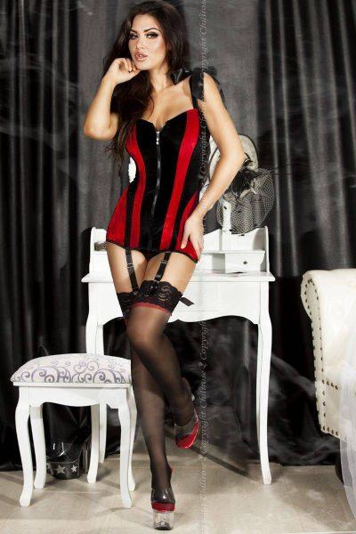 Długi, czarno-czerwony, aksamitny gorset CHILIROSE